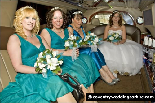 Bride and bridesmaids in Hummer